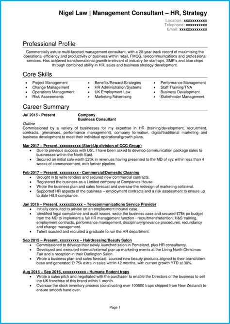 management consultant cv  writing guide
