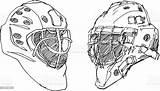 Hockey Helmet Ice Goalkeeper Sketch Istock sketch template
