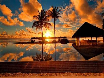 Tropical Sunset Island Nature Wallpapers Landscape Screen