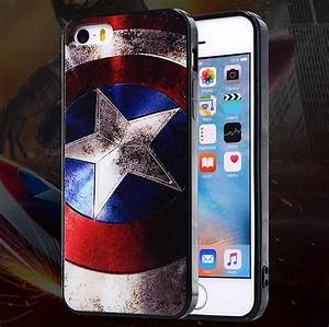 3D Painting Marvel Shield Case for iPhone 4 4S 5 5S 6 6S ...
