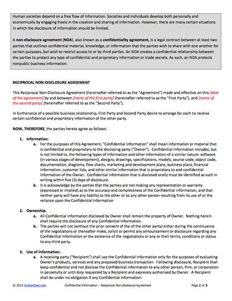 disclosure agreement nda template