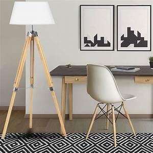Lampadaire Trepied Blanc : lampadaire trepied bois r glable blanc meubles et am nagement ~ Teatrodelosmanantiales.com Idées de Décoration