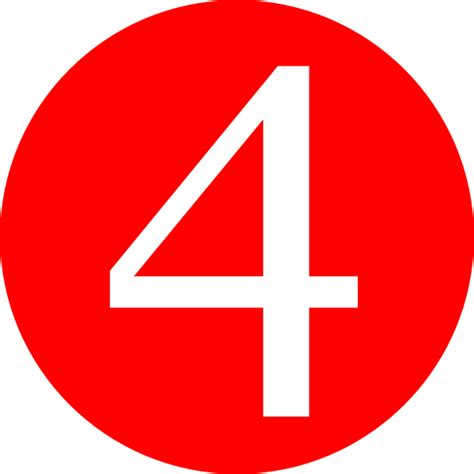 Red, Rounded,with Number 4 Clip Art At Clkercom Vector