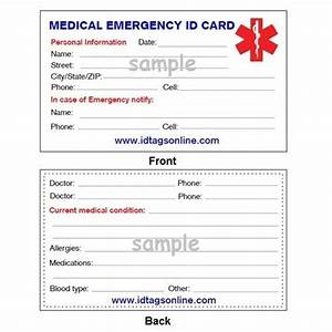 medical emergency wallet card for medical alert id With medical alert card template