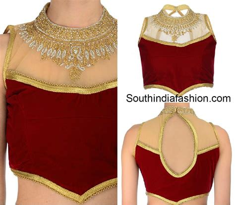 high neck blouse netted blouse fashion trends india south india fashion