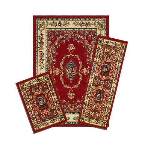 achim savonnerie red  piece area rug set