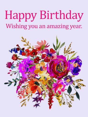 painted flower design happy birthday card birthday