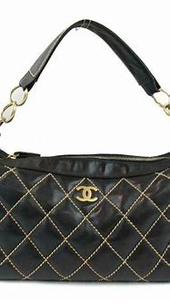 Authentic CHANEL Wild stitch one shoulder bag leather ...