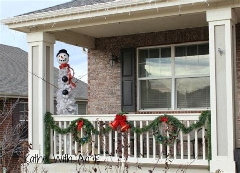 decorate  front porch railing  christmas