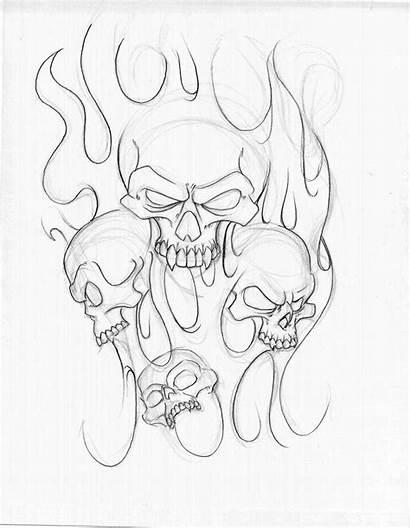Tattoo Skull Drawings Sleeve Half Outline Tattoos