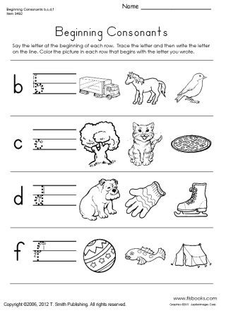 beginning consonants worksheet