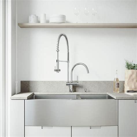 kitchen sink apron front vigo all in one farmhouse apron front stainless steel 36 5630