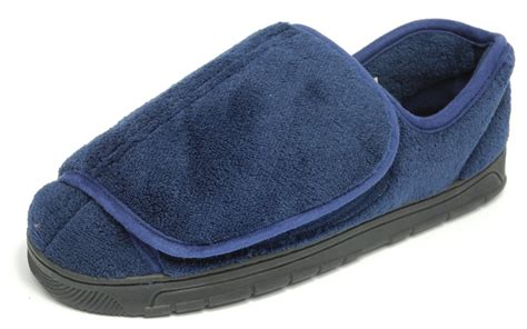 mens dr keller wide fit velcro open out slippers blue