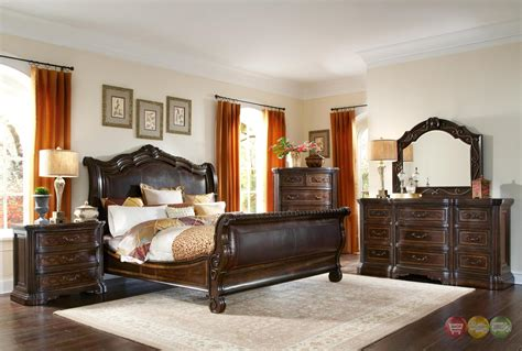 valencia traditional genuine leather upholstered sleigh