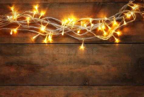 Abstract Photo Of Christmas Warm Gold Garland Lights On