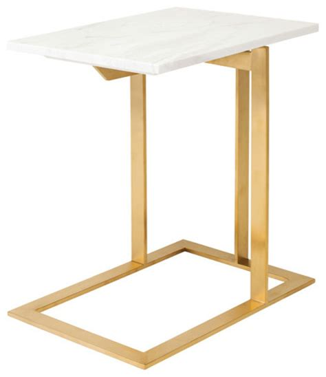 gold and marble end table gold stainless steel white marble top side table