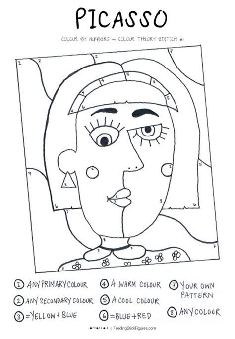 picasso colour  numbers activity sheet