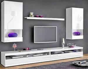 Décoration Télévision Murale : composition murale tv 5 pieces burrata laque blanche ~ Teatrodelosmanantiales.com Idées de Décoration