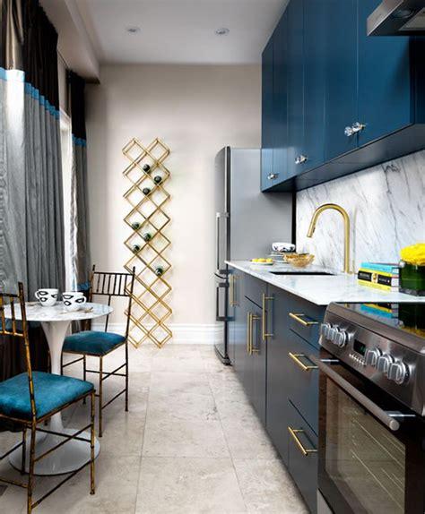 stylish blue  gold kitchen design  marble digsdigs