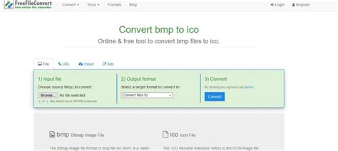 You can also click the dropdown button to choose online file from url, google drive or dropbox. Online Free Converter---Convert BMP to ICO File
