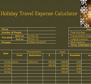 Calender In Excel Holiday Travel Expense Calendar My Excel Templates