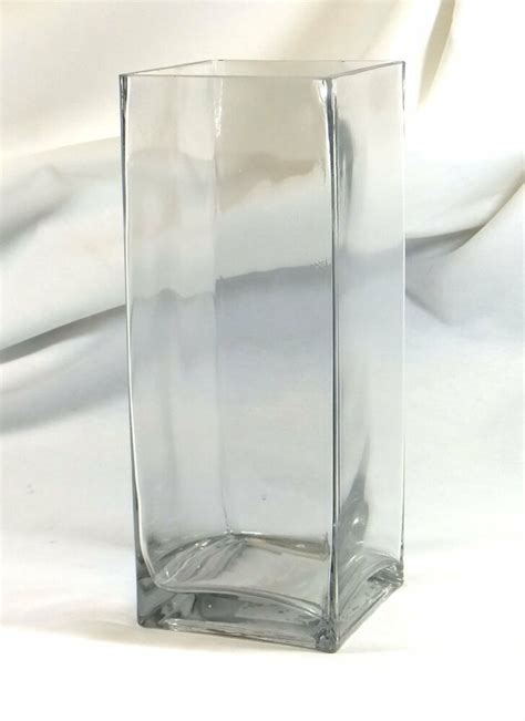 Square Vases by Clear Glass 10 Quot Block Vase Inch Base 10x4x4 Pillar