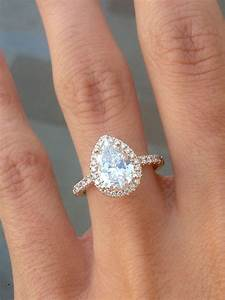 Yellow gold pear diamond with halo engagement ring for Teardrop diamond wedding ring