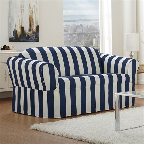 nautical sofa covers white and blue navi color for loveseat slipcover design