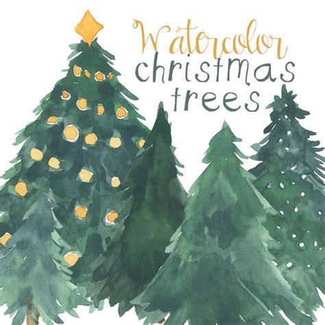 watercolor christmas tree clip art  scrapbooking holiday