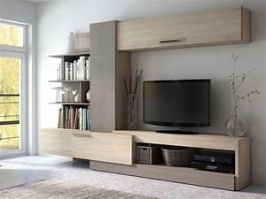 Meuble Tv Mur : mur tv spike avec rangements ch ne taupe ~ Teatrodelosmanantiales.com Idées de Décoration