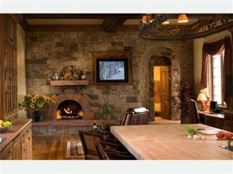 Country Kitchen Fireplace  The Interior Design