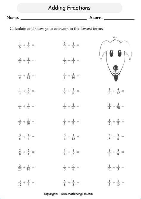 fraction crossword puzzle worksheets written addition