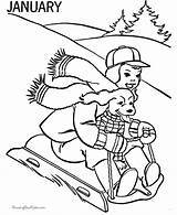 Sledding Coloring Clipart Clip Library January Winter sketch template
