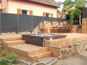 terrasse bois spa With amenagement petit jardin avec piscine 11 terrasse carrelee ma terrasse