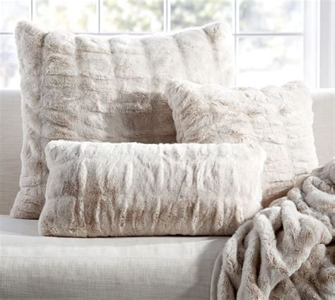 faux fur pillow ruched faux fur pillow cover ivory pottery barn
