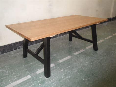 restaurant narrow oak solid slab dining table for