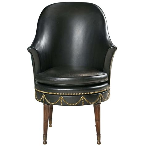 Leather Swivel Chair At 1stdibs by Black Leather Swivel Chair With Decorative Nailheads At