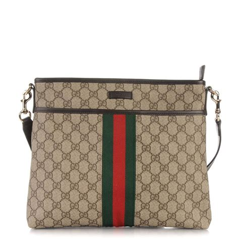 gucci gg monogram web messenger   beige brown