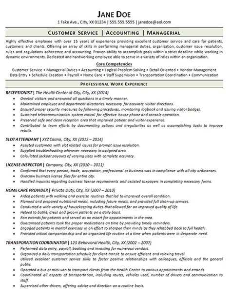 Career Gap Resume by Employment Gap Resume Exle Receptionist Customer Service