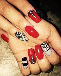 29+ Red Acrylic Nail Art Designs , Ideas | Design Trends