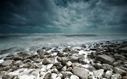 Sea Storm Stones Themed Stormy Landscape Background