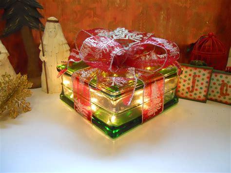 ideas  christmas decorated glass blocks crafts