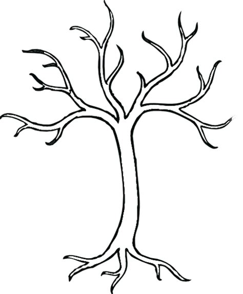 outline of tree without leaves free coloring pages on