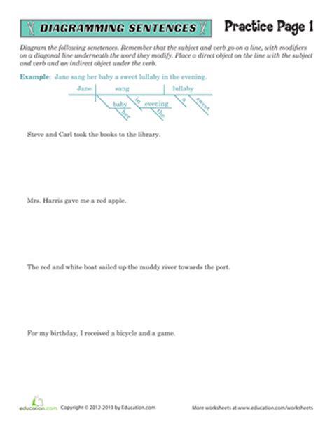 Sentence Diagramming Worksheets  5th Grade Grammar Educationcom