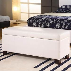 Modus milano bedroom storage bench in white leatherette for White bedroom bench