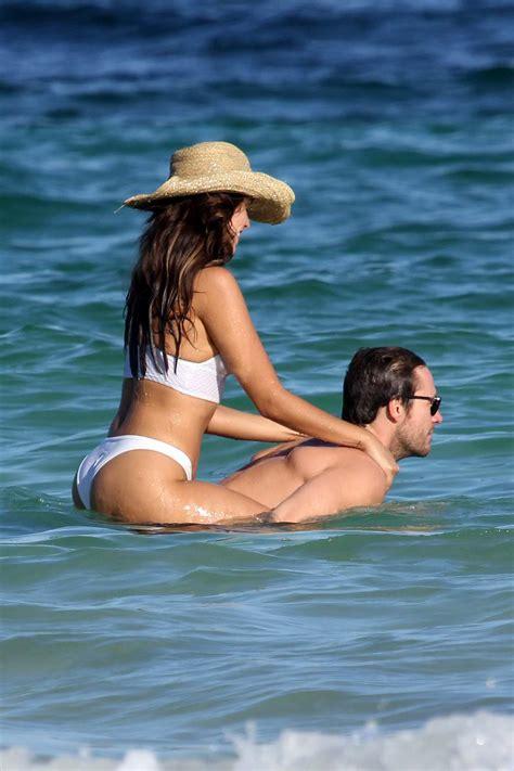eiza gonzalez sports  white bikini  enjoying