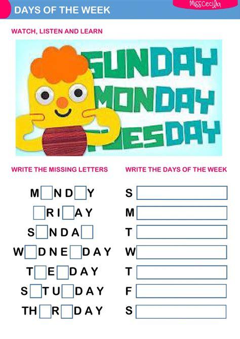 Days Of The Week  Interactive Worksheet