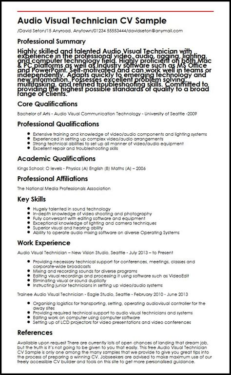 audio visual technician cv sle myperfectcv