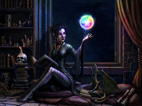 Fantasy Girl, Elf, Dragon, Magic, Night Wallpaper