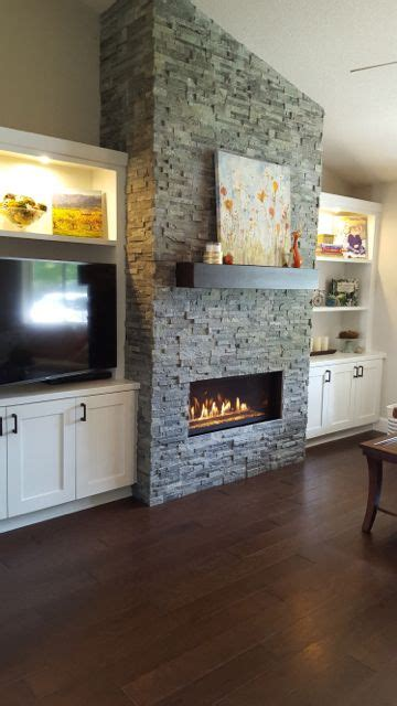 gas fireplace addition ledgestone fireplace  white shaker cabinets fireplaces pinterest